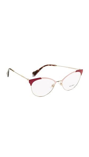 Miu Miu Colorblock Glasses - Red/Clear