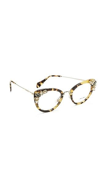Miu Miu Crystal Cat Eye Glasses - Light Havana/Clear