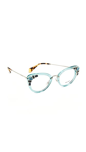 Miu Miu Crystal Cat Eye Glasses - Transparent Azure/Clear