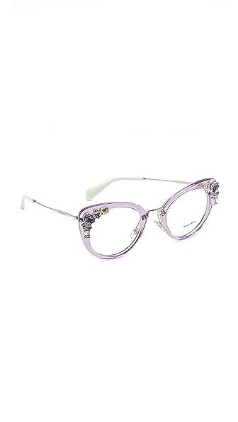Miu Miu Crystal Cat Eye Glasses - Transparent Lilac/Clear