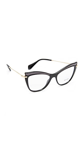 Miu Miu Cat Eye Glasses - Black/Clear