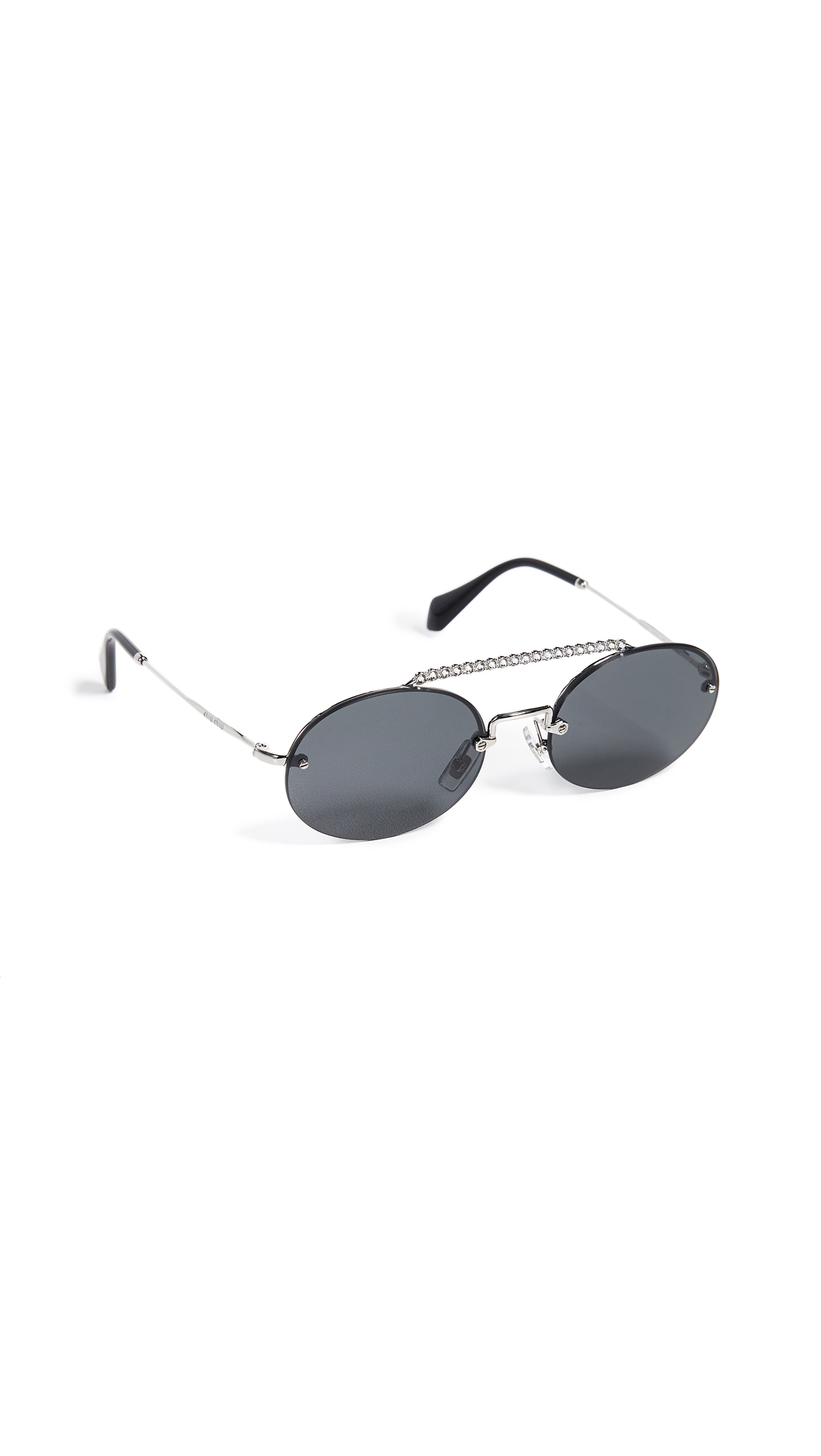 Miu Miu Round Aviator Sunglasses In Silver/Grey
