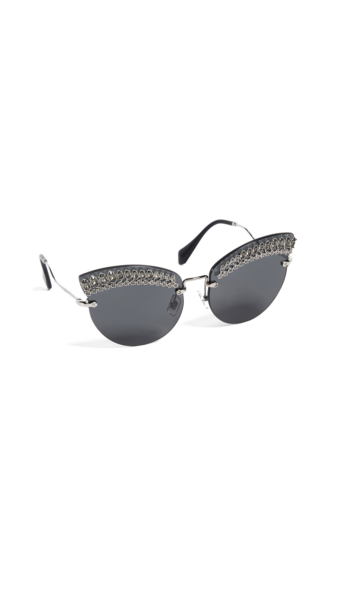 Miu Miu Crystal Cat Eye Sunglasses In Silver/Grey