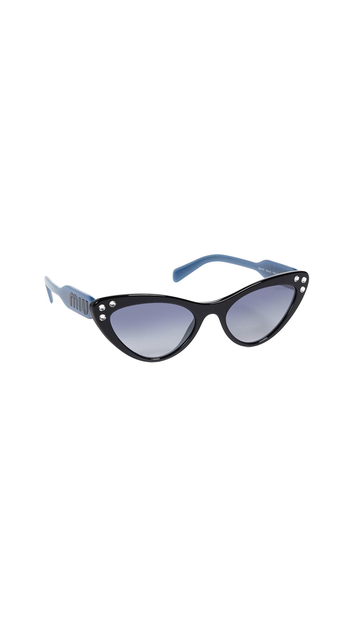 Crystals Cat Eye Sunglasses, Black/Blue Mirror