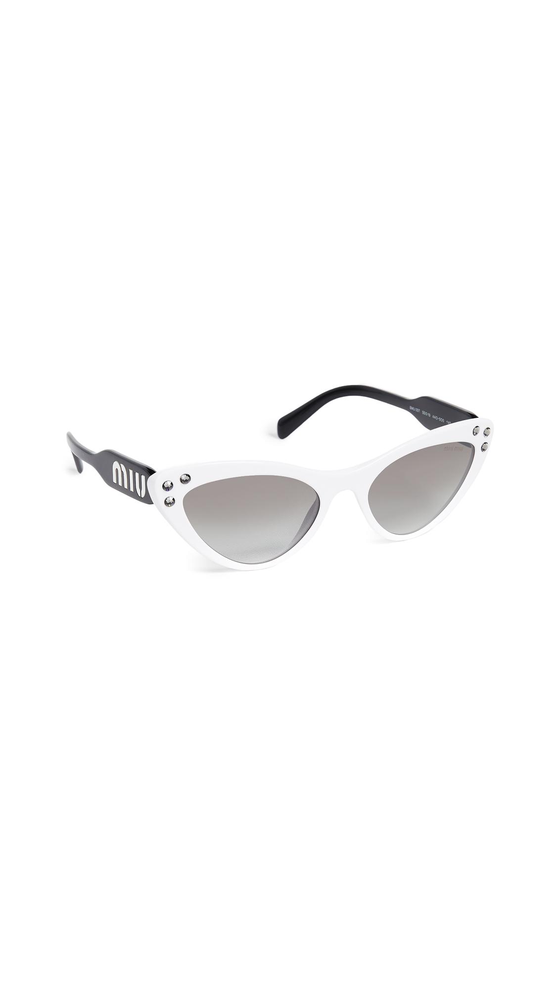 Crystals Cat Eye Sunglasses, White/Grey Mirror