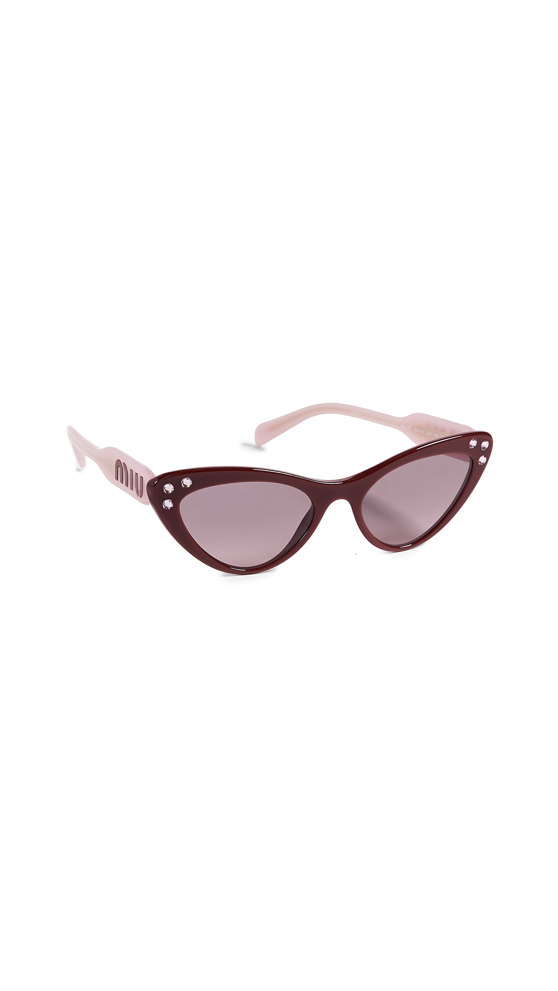 Crystals Cat Eye Sunglasses, Amaranth/Pink Gradient Grey