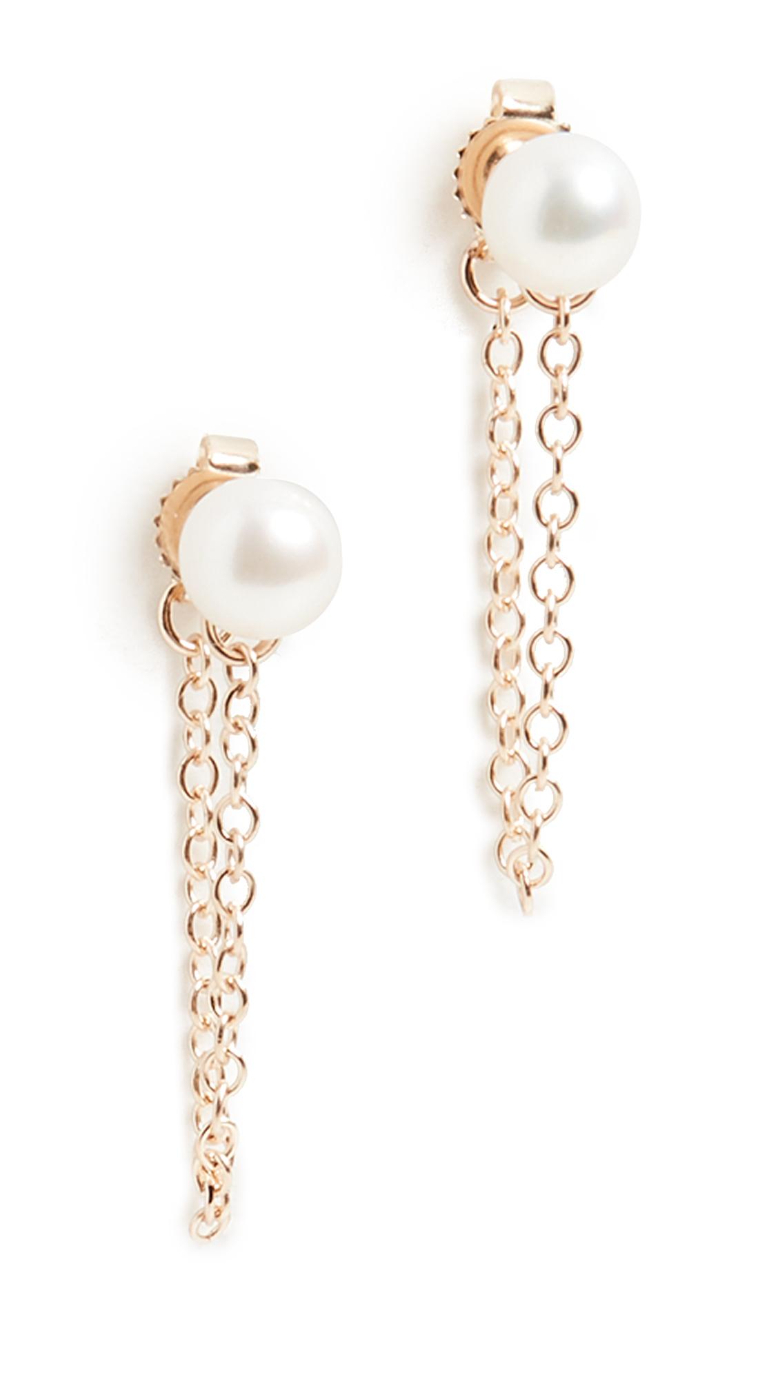 Mizuki Medium Freshwater Pearl Chain Earrings