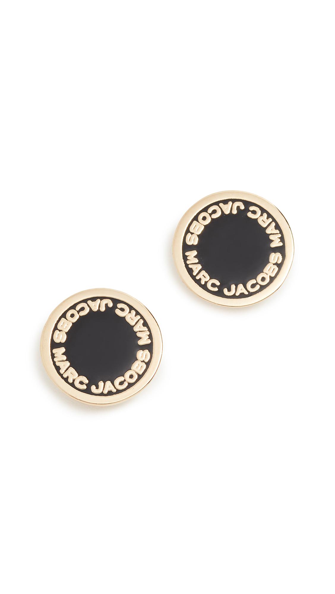 Marc Jacobs Enamel Logo Disc Stud Earrings - Black/Oro