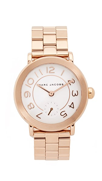 Marc Jacobs New Classic Watch In Rose Gold/White