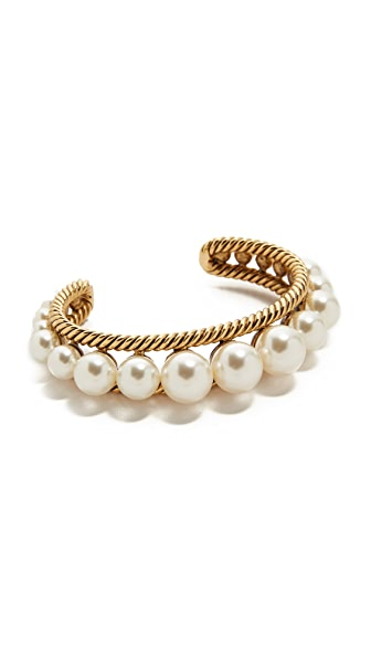 Marc Jacobs Imitation Pearl Rope Cuff Bracelet In Cream/Antique Gold