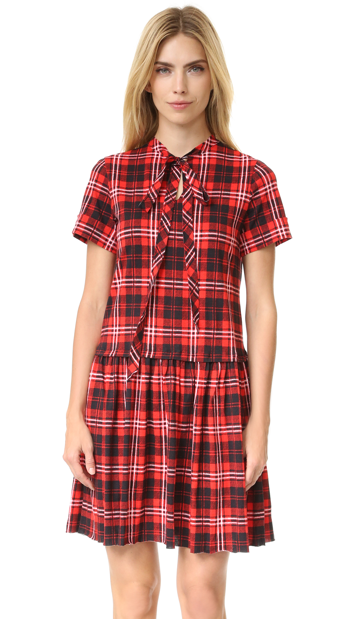 marc jacobs female 250960 marc jacobs 34 sleeve knit dress red plaid