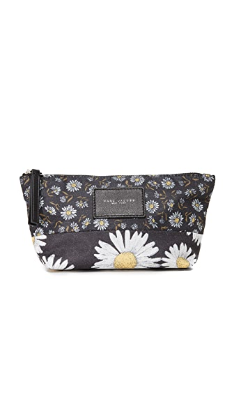 Marc Jacobs B.Y.O.T Mixed Daisy Trapezoid Cosmetic Case - Black