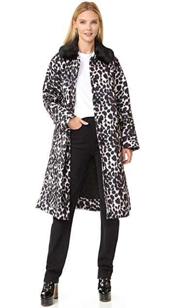 Marc Jacobs Overcoat with Faux Fur Collar