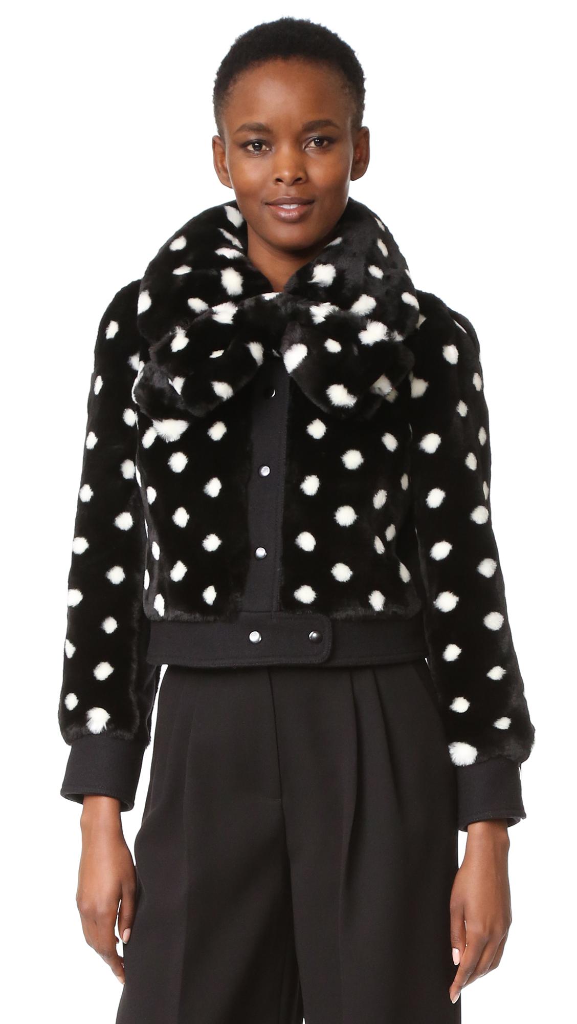 marc jacobs female 188971 marc jacobs spotted faux fur jacket black multi