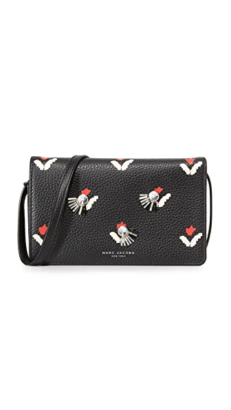 Marc Jacobs Embellished Tulip Print Cross Body Wallet - Black Multi