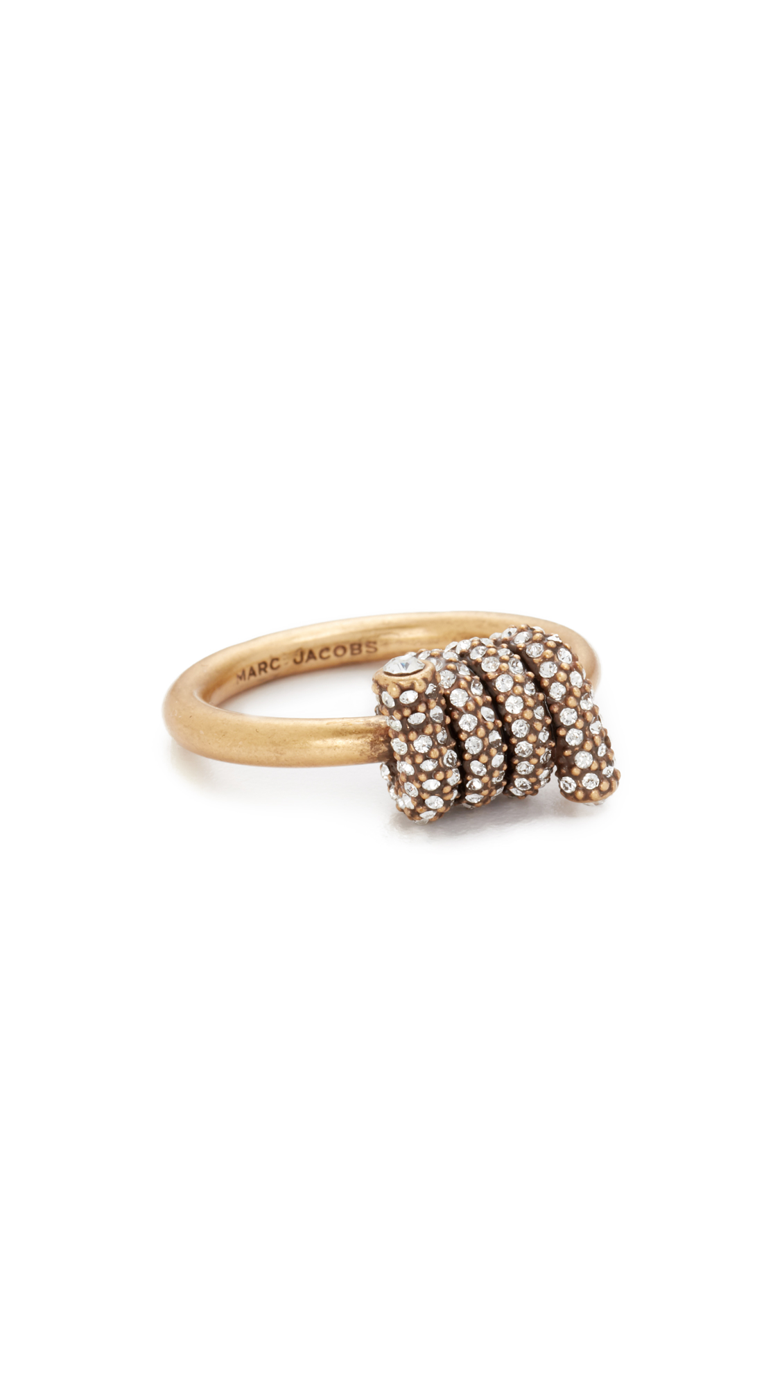 marc jacobs female 220183 marc jacobs pave twisted ring crystalantique gold