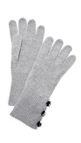 Marc Jacobs Embellished Cashmere Gloves - Grey