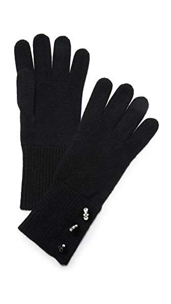 Marc Jacobs Embellished Cashmere Gloves - Black