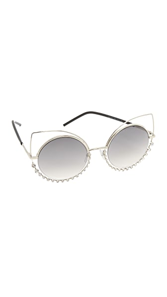 Marc Jacobs Double Trouble Crystal Wire Sunglasses - Light Gold/Grey Mirror