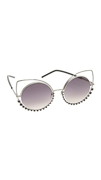 Marc Jacobs Double Trouble Crystal Wire Sunglasses - Dark Ruthenium/Dark Grey
