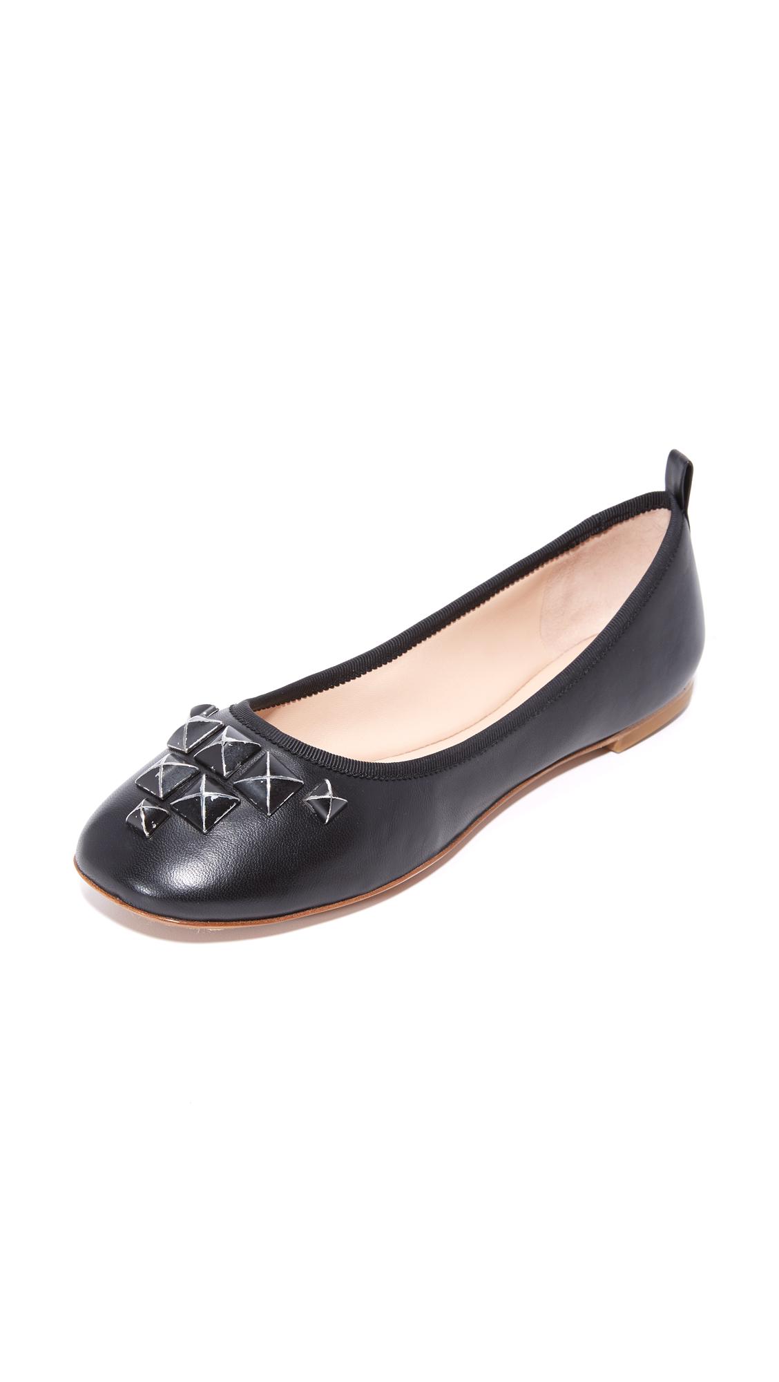 marc jacobs female marc jacobs cleo studded ballerina flats black