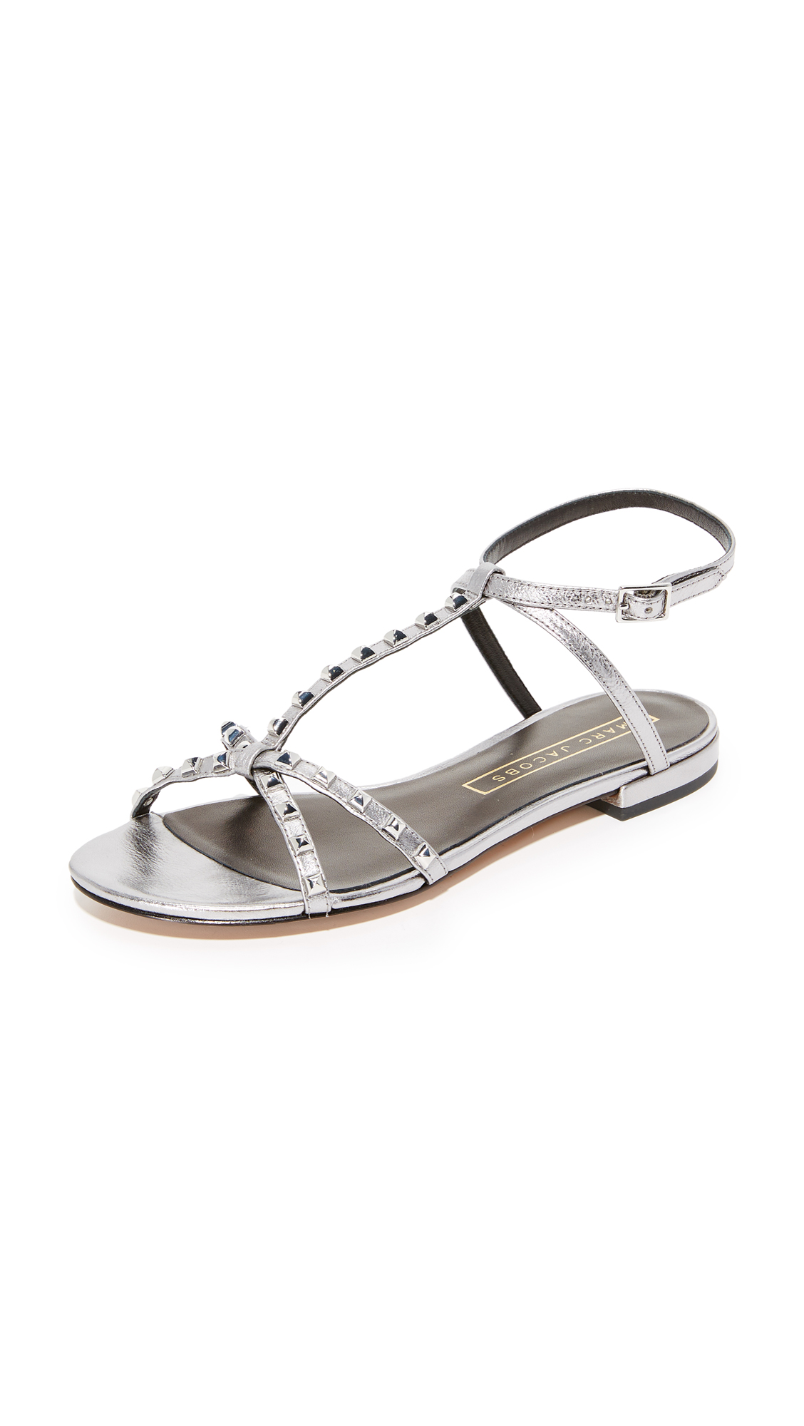 marc jacobs female marc jacobs ana studded sandals dark silver