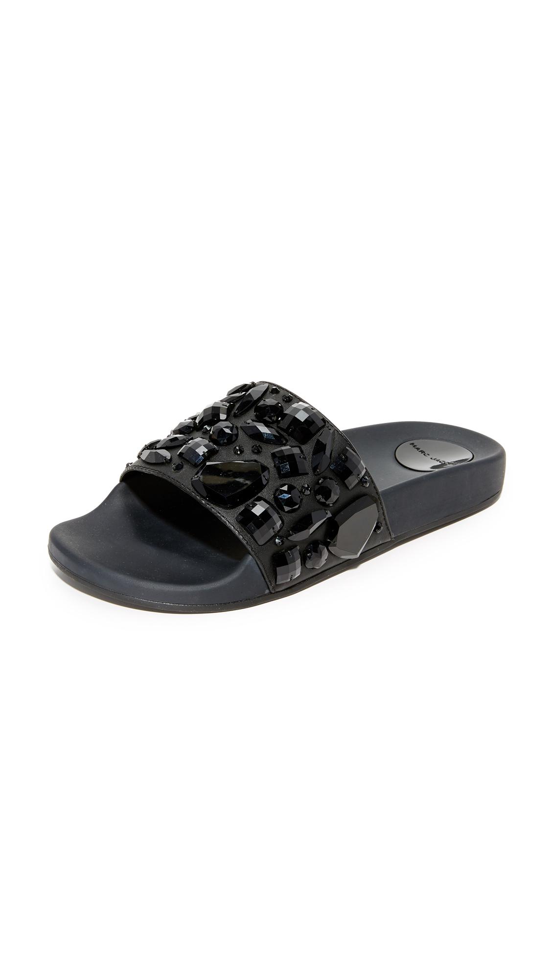 marc jacobs female marc jacobs cooper embellished sport slides black