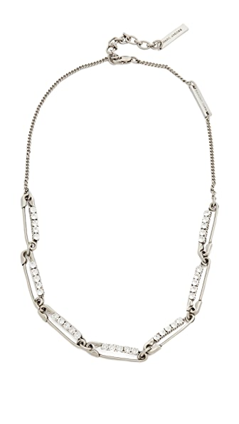 Marc Jacobs Strass Safety Pin Link Necklace