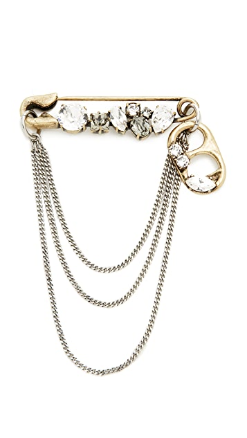 Marc Jacobs Mini Strass Safety Pin Chain Brooch