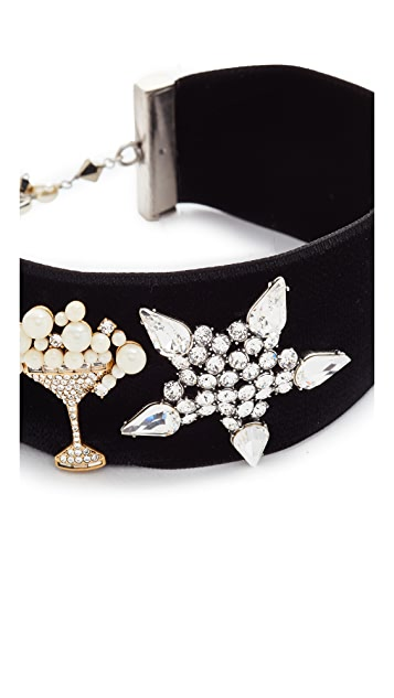 Marc Jacobs Martini Star Velvet Choker Necklace