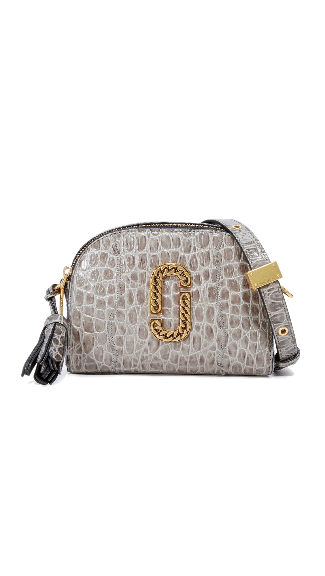 marc jacobs female 217293 marc jacobs croc embossed shutter camera bag charcoal