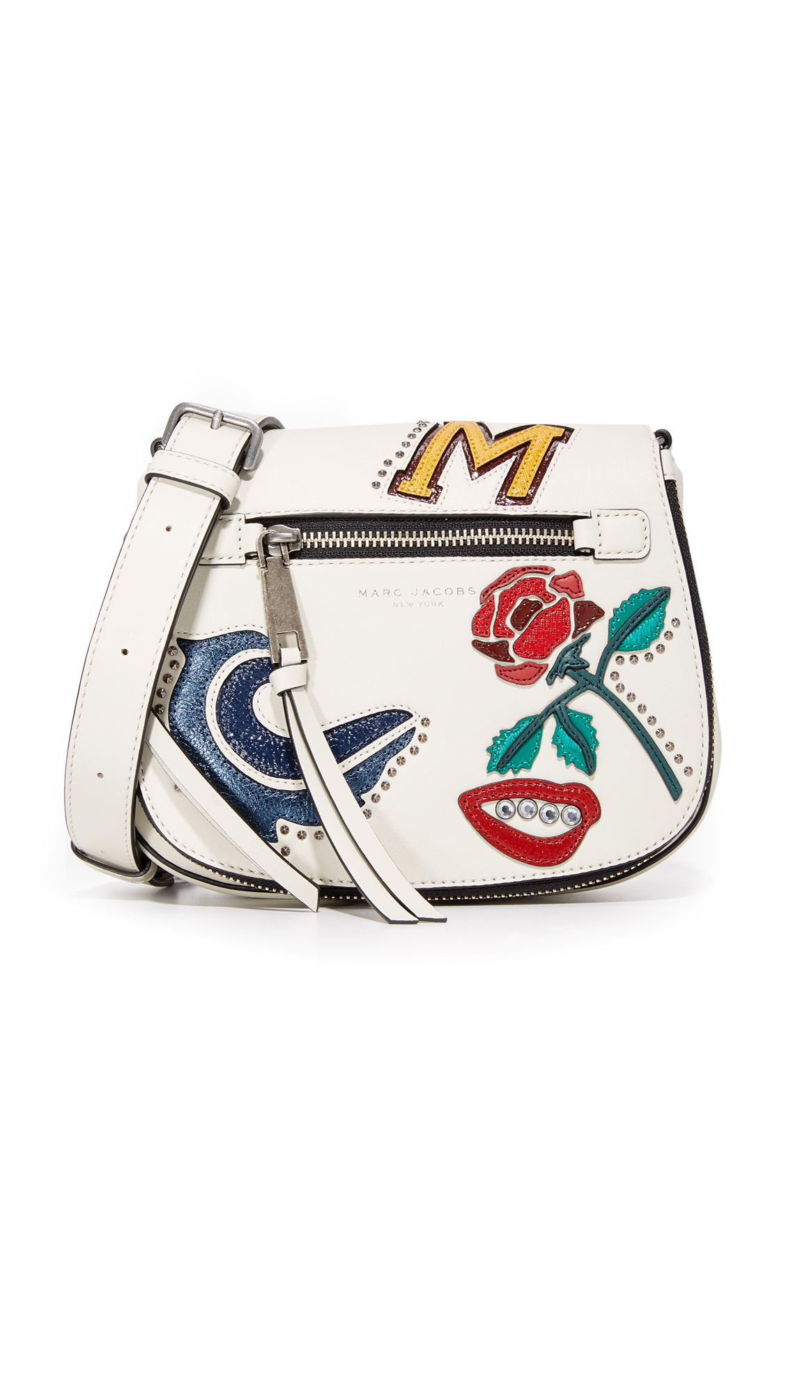 marc jacobs female marc jacobs mj collage small nomad saddle bag dove multi