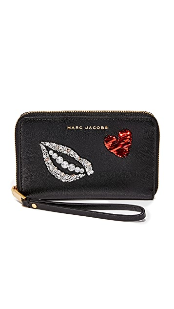 Marc Jacobs Sequin Hand to Heart Zip Wristlet