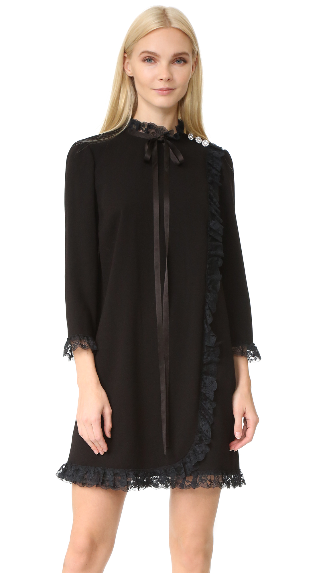 marc jacobs female marc jacobs lace babydoll dress black