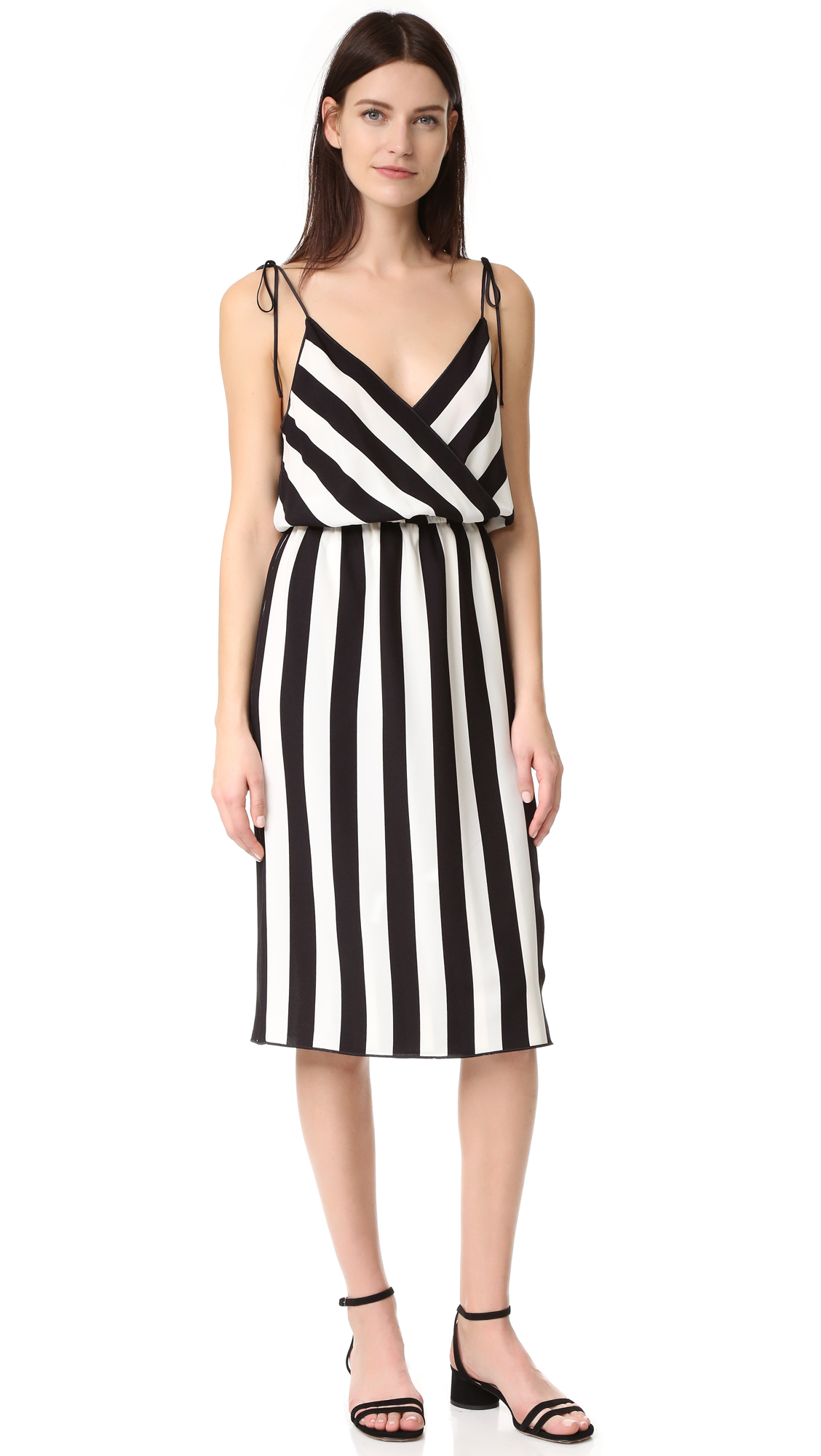 marc jacobs female marc jacobs stripe crossover cami dress blackparchment