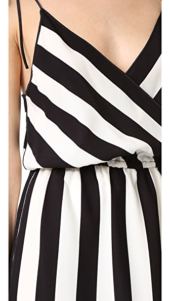 MARC JACOBS Striped Crepe Slip Dress, Black/White