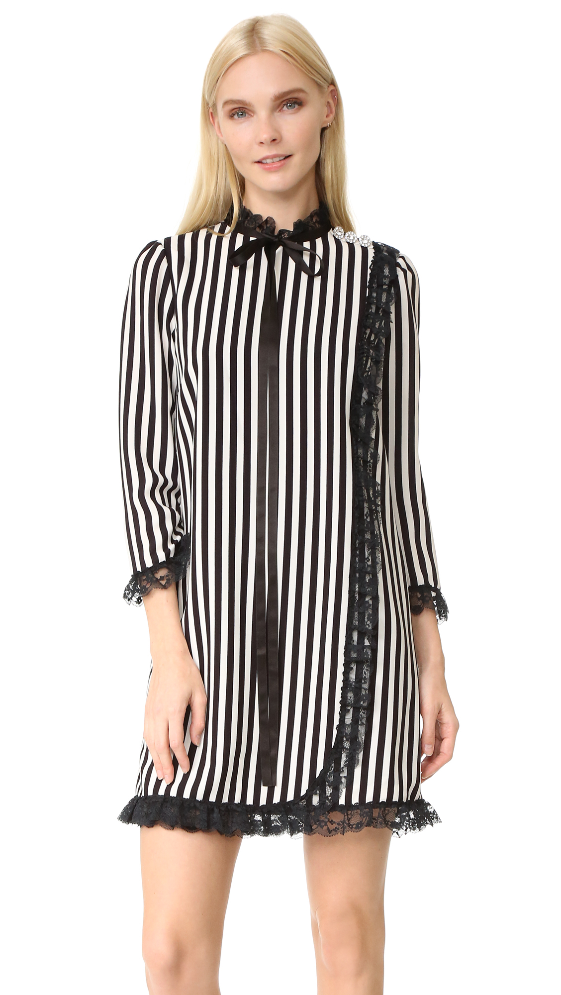 marc jacobs female marc jacobs striped babydoll dress blackparchment