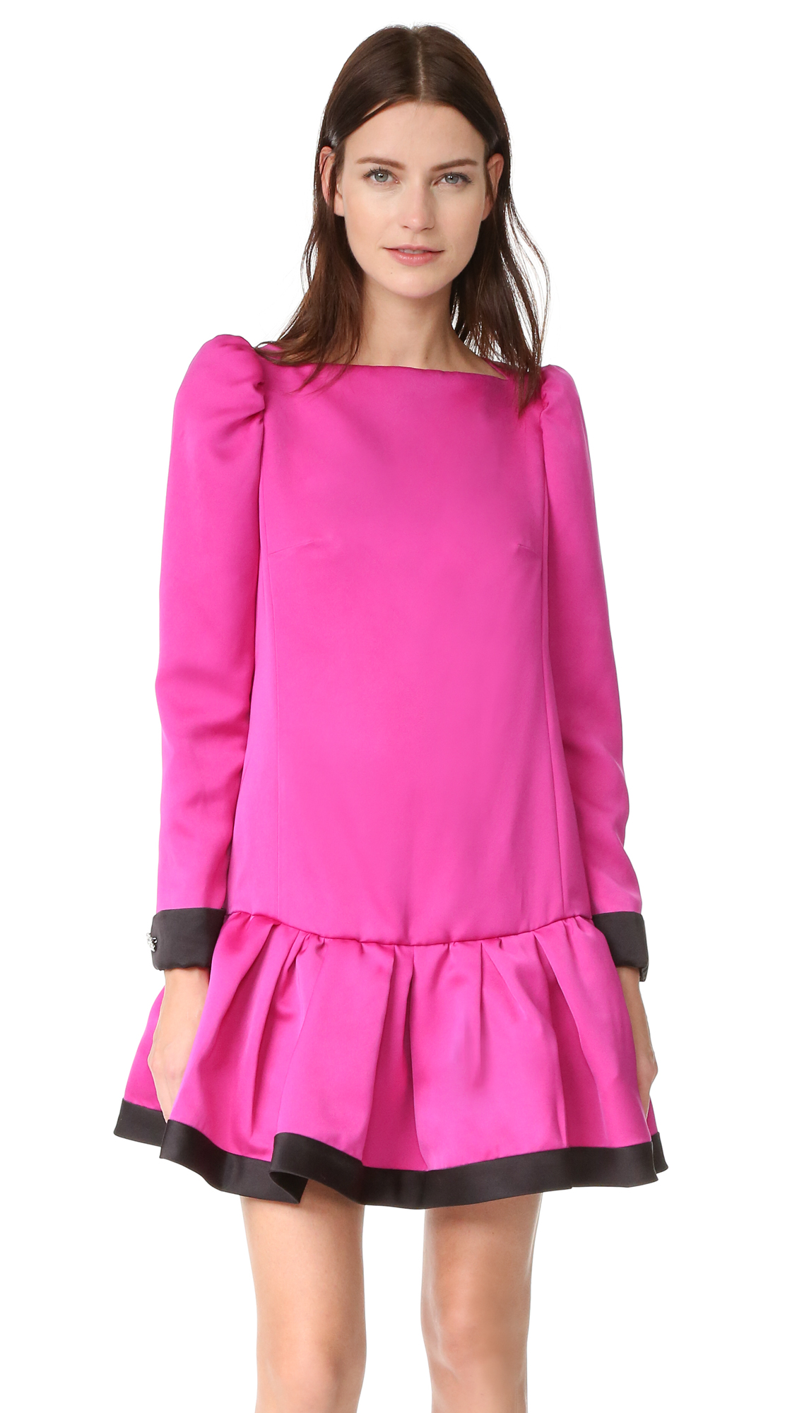 marc jacobs female marc jacobs long sleeve dress with ruffle magenta