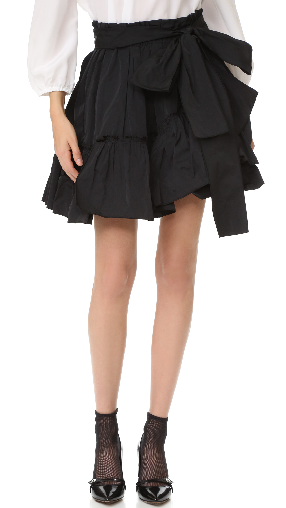 marc jacobs female marc jacobs tie waist ruffle skirt black