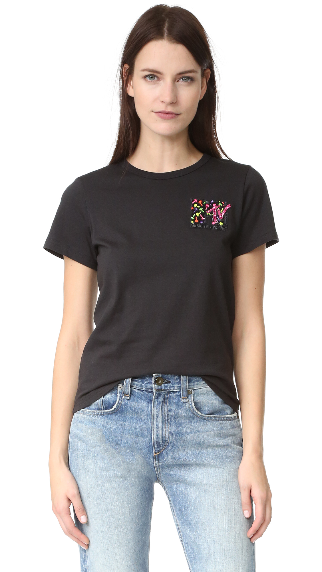 marc jacobs female marc jacobs embroidered classic tee black