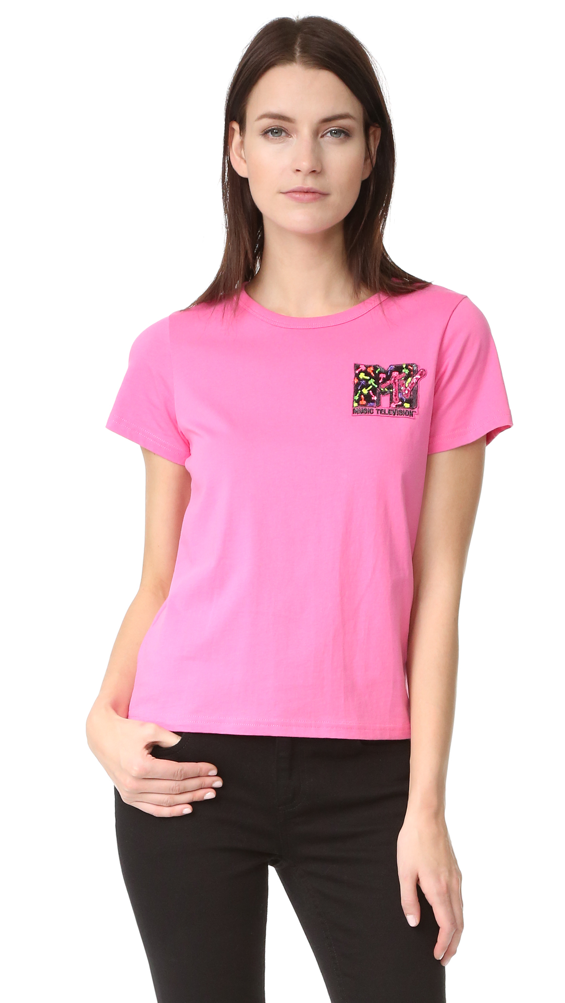 marc jacobs female marc jacobs embroidered classic tee pink