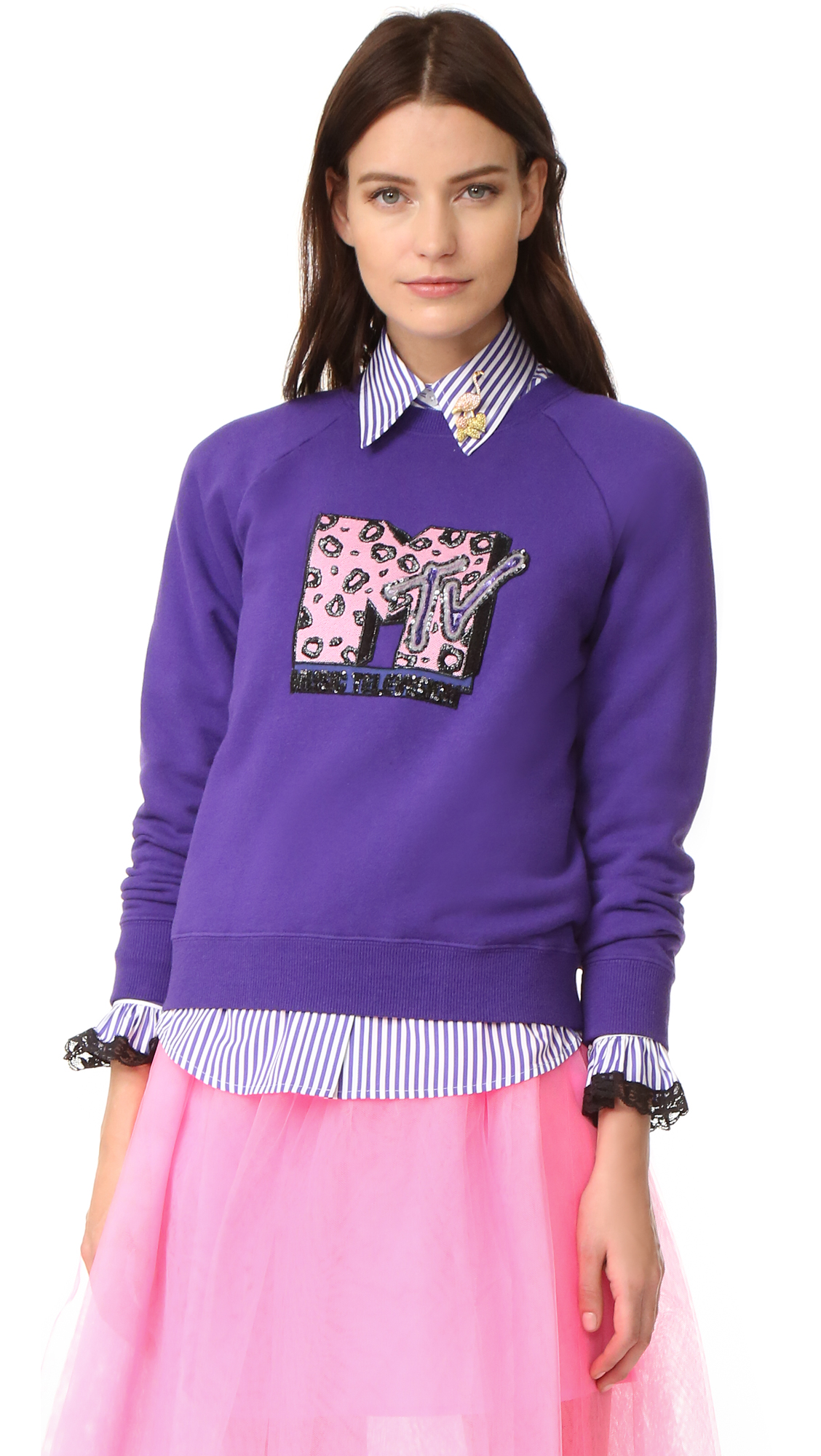 A sequined MTV logo gives this Marc Jacobs sweatshirt a retro inspired look. Crew neckline. Long raglan sleeves. Fabric: French terry. 100% cotton. Hand wash. Imported, China. Measurements Length: 22in / 56cm, from shoulder Measurements from size S.