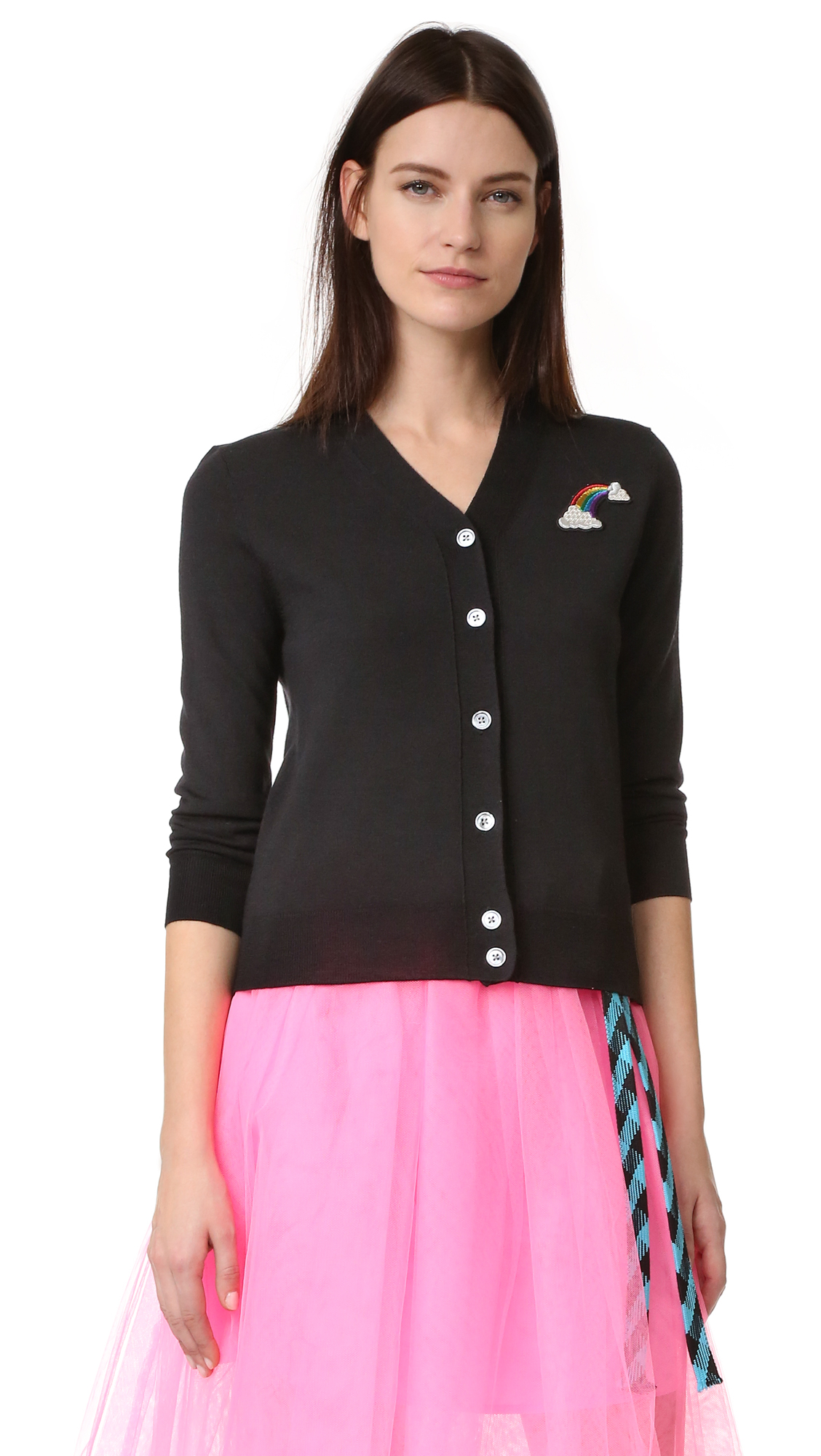 marc jacobs female marc jacobs long sleeve cardigan black