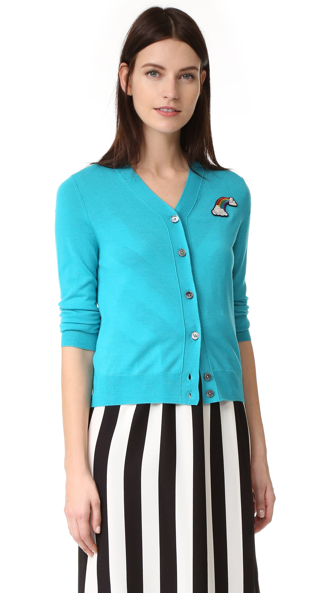 marc jacobs female marc jacobs long sleeve cardigan turquoise