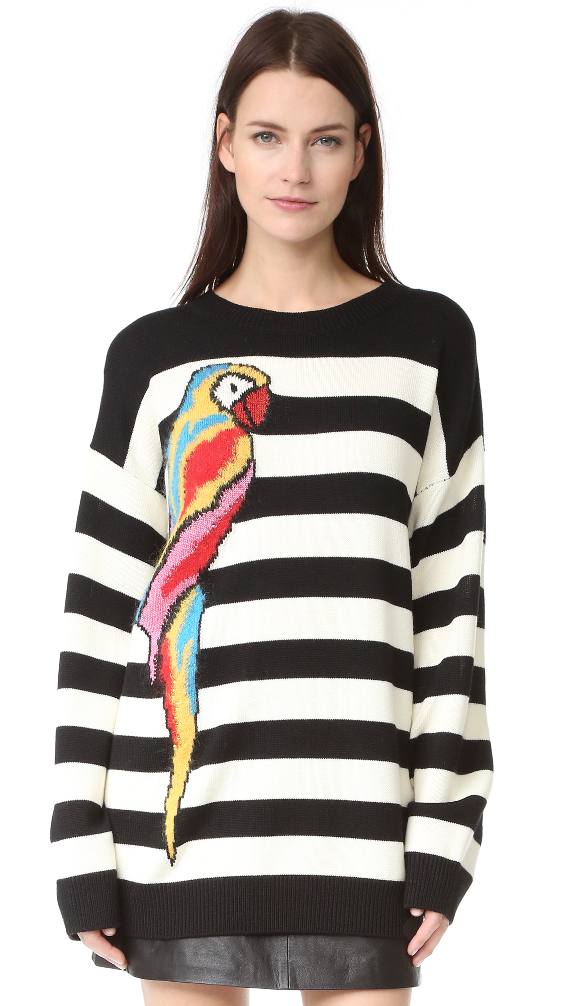 marc jacobs female marc jacobs long sleeve crew sweater black multi