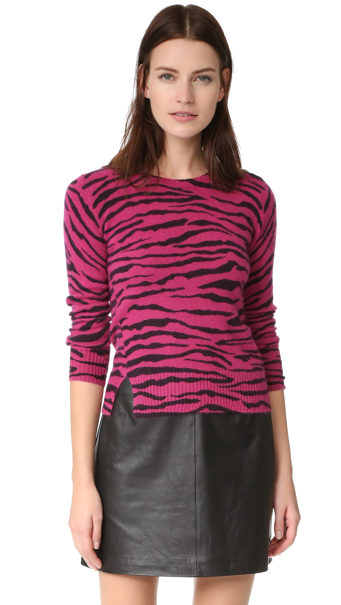 marc jacobs female marc jacobs tiger stripe cashmere sweater pink multi