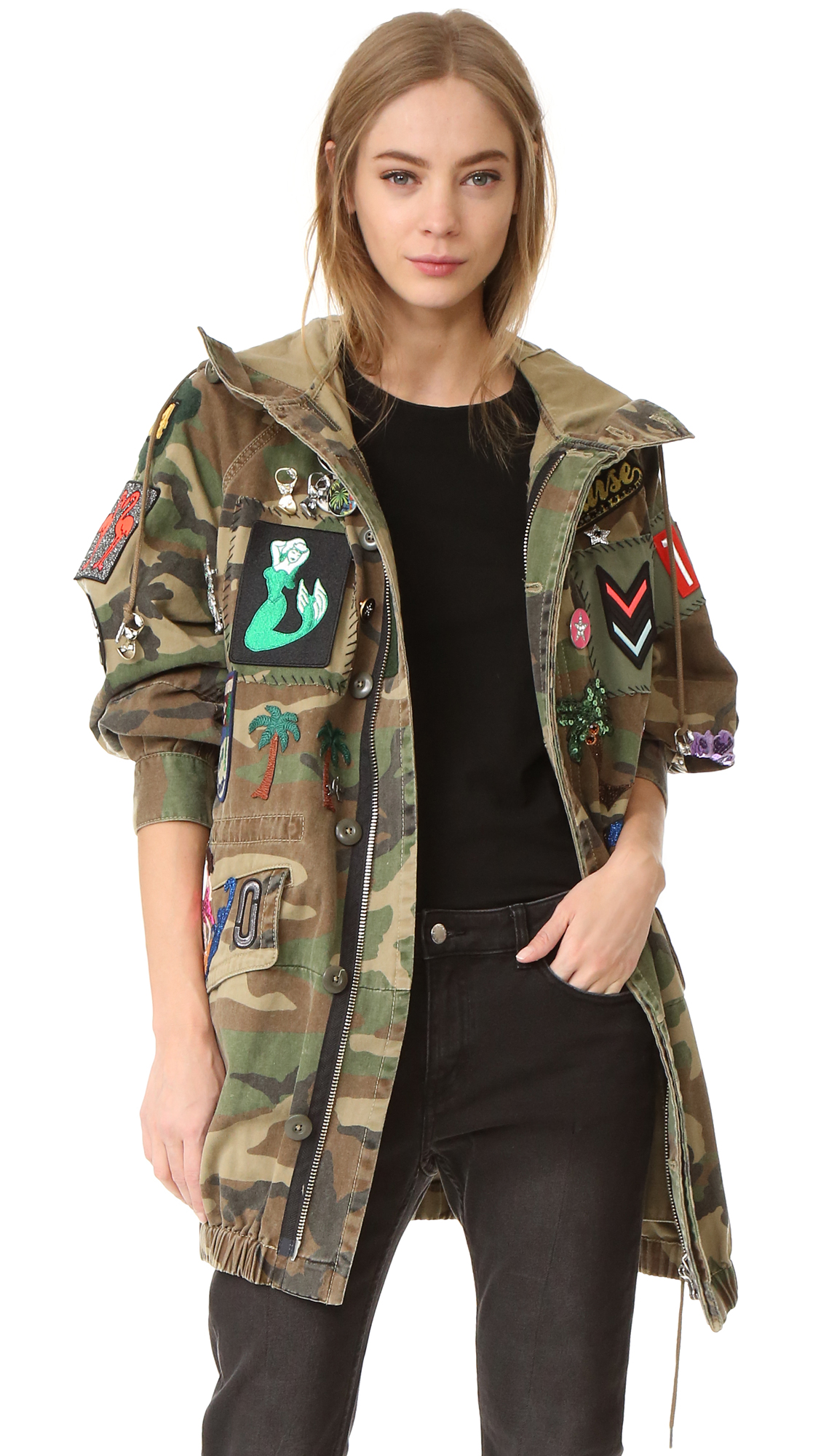 marc jacobs female marc jacobs camo hooded anorak multi