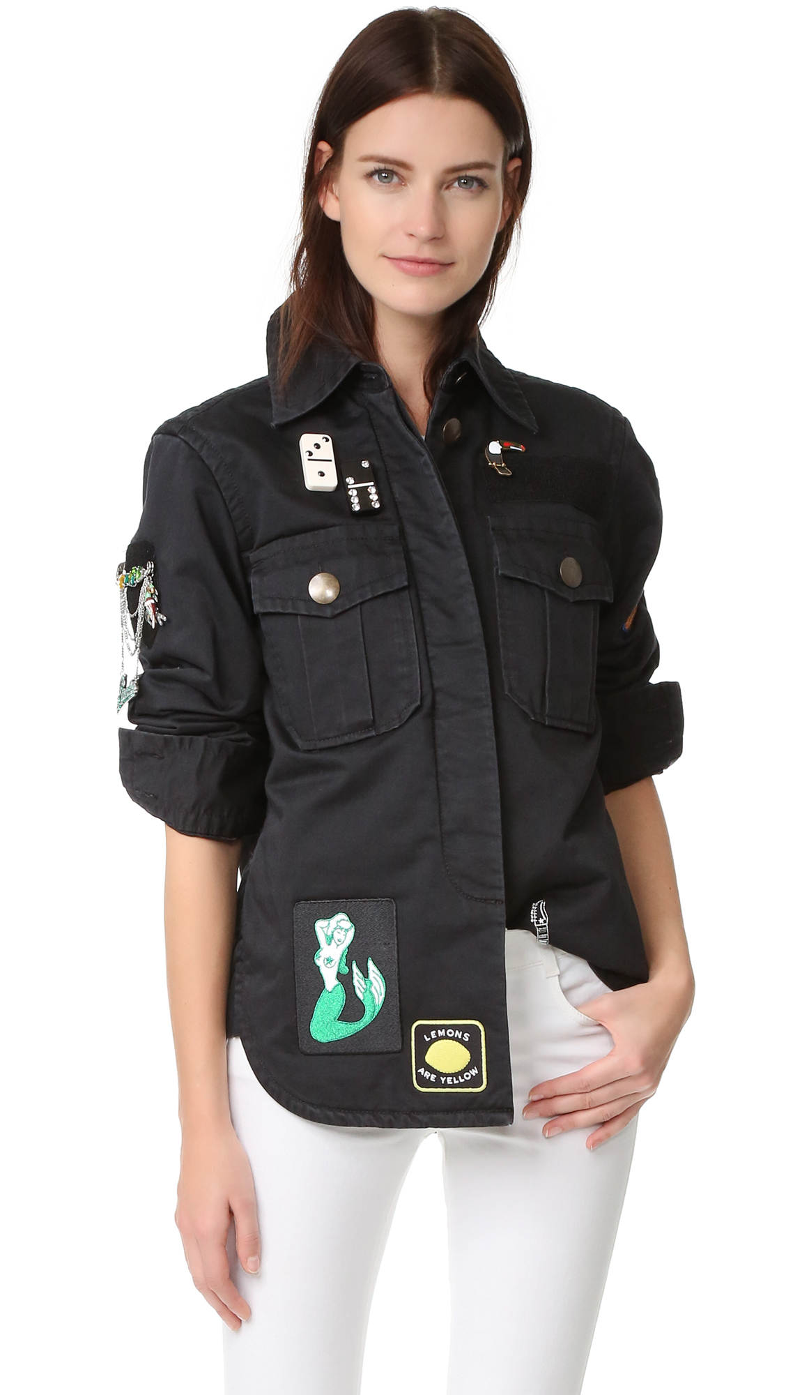 marc jacobs female marc jacobs padded military shirt black