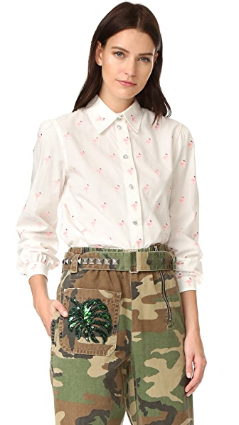 Marc Jacobs Flamingo Cotton Shirt - White/Pink