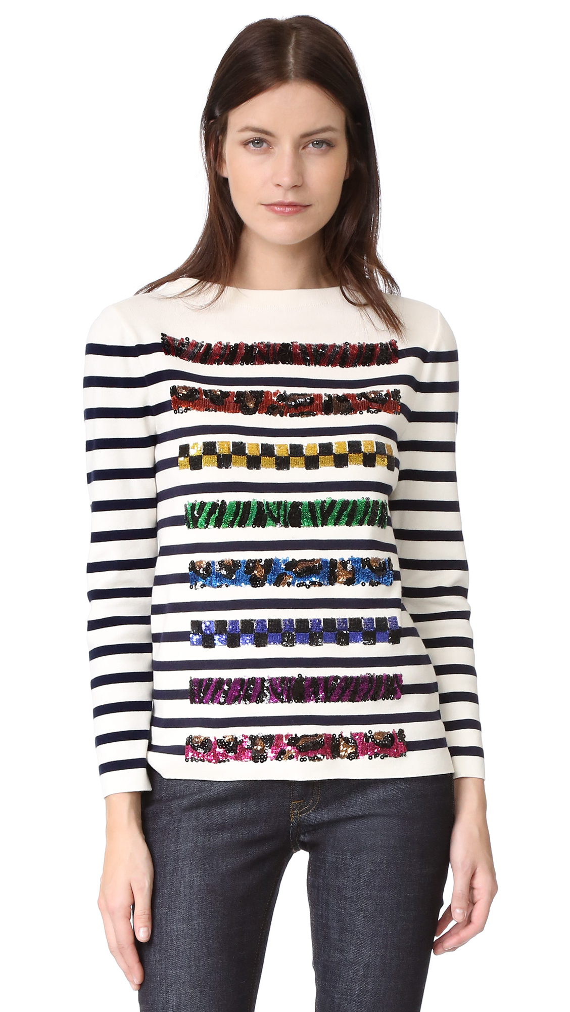 marc jacobs female marc jacobs long sleeve boat neck sweater navyoff white